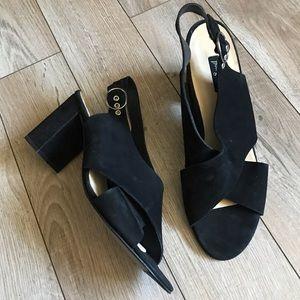 Paul Green Black criss cross block heel sandals